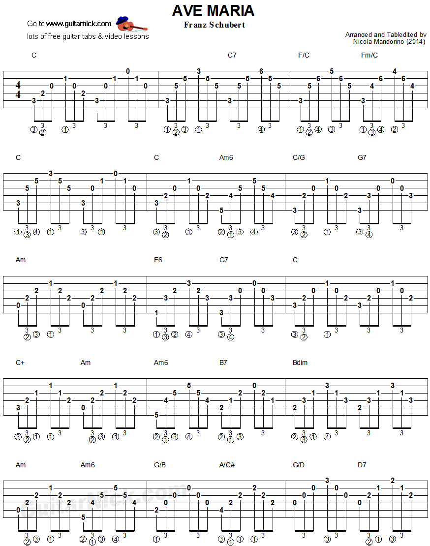 Ave Maria By Schubert Guitar Chords Tablature 1 Guitar