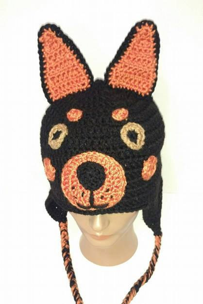 Doberman Pinscher, Dog Hat, Crochet Dog Hat, Crochet Animal Hat, Dog ...
