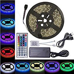 Led Strip Lights 16 4 Foot 5 Meters Led Light Strip Flykul 5050 Smd 300 Leds Rgb Led Light Strip Kit Waterproof Flexible Strip Light With 44 Keys Ir Remote Con Led Strip Lighting