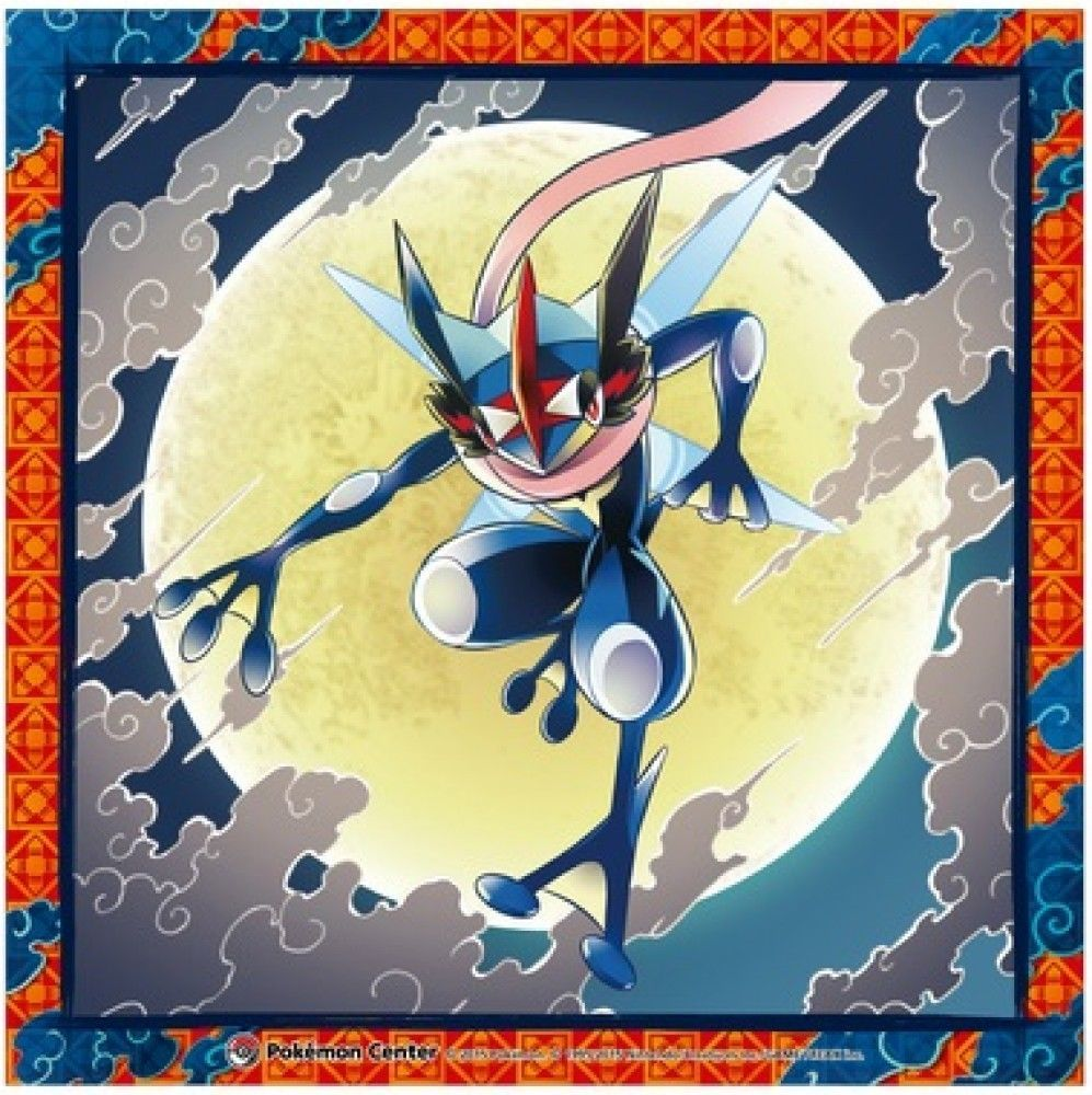 Pokemon Center Handkerchief Satoshi Gekkouga (Ash Greninja) Made In Japan