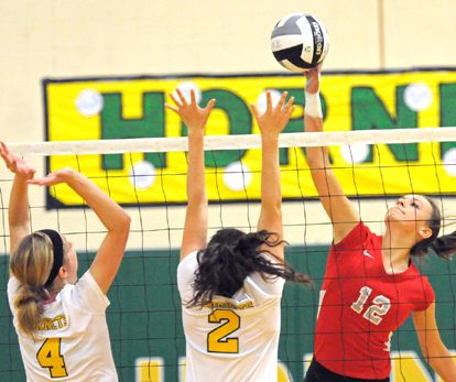 Hopewell Loudon S Marissa Shaver Tips The Ball Over The Defensive Block Of Cory Rawson S Anna Curth 4 And Kendra Tuttle 2 During Sports Story Hornet Loudon