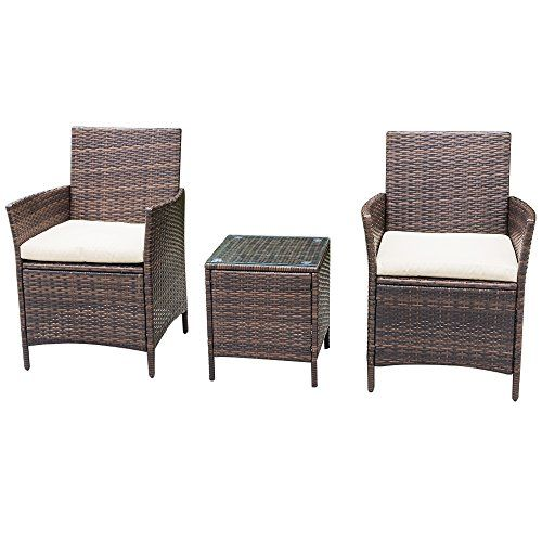 Homall Patio Furniture Bar Set Patio Table and Chairs Set Outdoor Furniture Cushioned Tempered Glass PE Rattan Brown