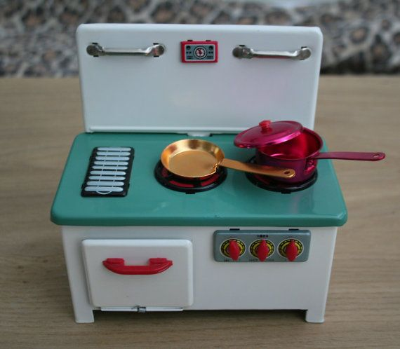 Vintage Toy Tin metal Kitchen made in China cute for by LisaAnn86, $36.00