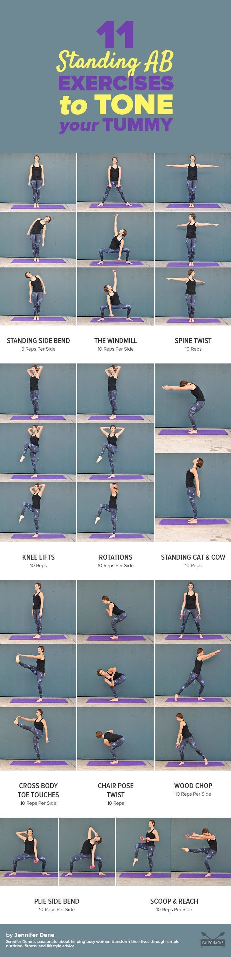 Tone and strengthen your tummy anywhere with these easy standing ab exercises! The added benefits? Improved balance, better posture, and no workout mat needed. Get the exercises here: http://paleo.co/standingabexercises