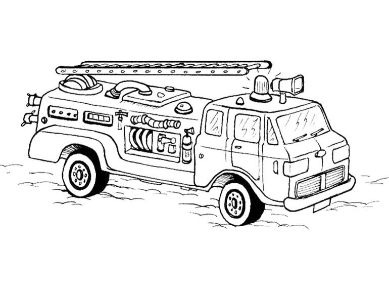 Cars Fireman Coloring Page For Kids