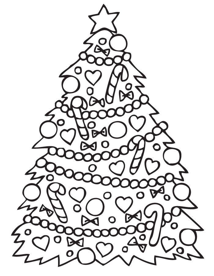arbol de navideno con adornos para colorear dibujar recortar y ...