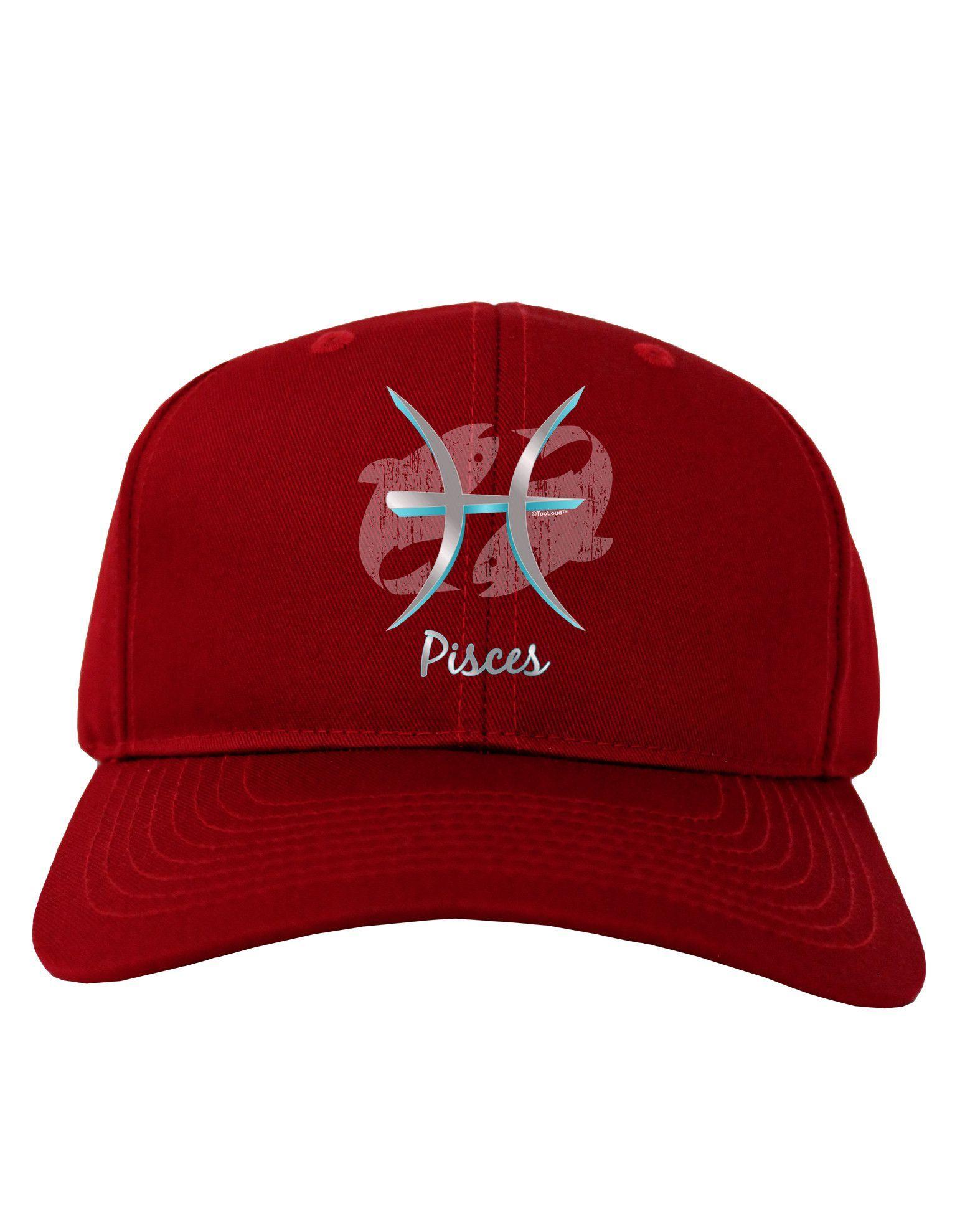 TooLoud Pisces Symbol Adult Dark Baseball Cap Hat