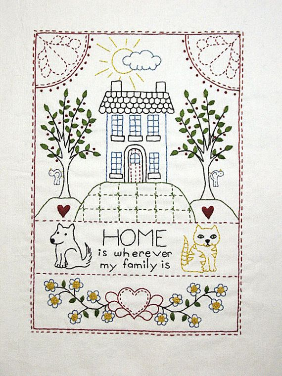 Home Sampler Surface Embroidery PDF Pattern | Pinterest | Bordado ...