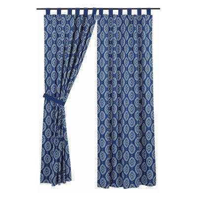 VHC Brands Paloma Lined Tab Top Curtain Panel Pair Indigo White
