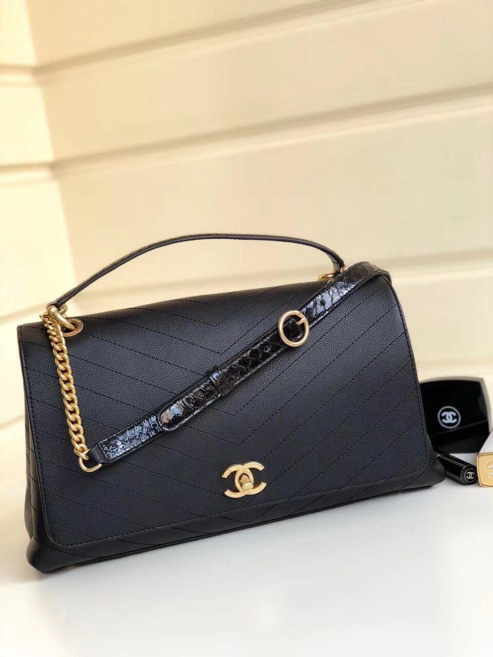 Chanel Calfskin Chevron Chic Large Top Handle Bag A57149 Black 2018 Chanel Handbags Designer Bags For Less Bags