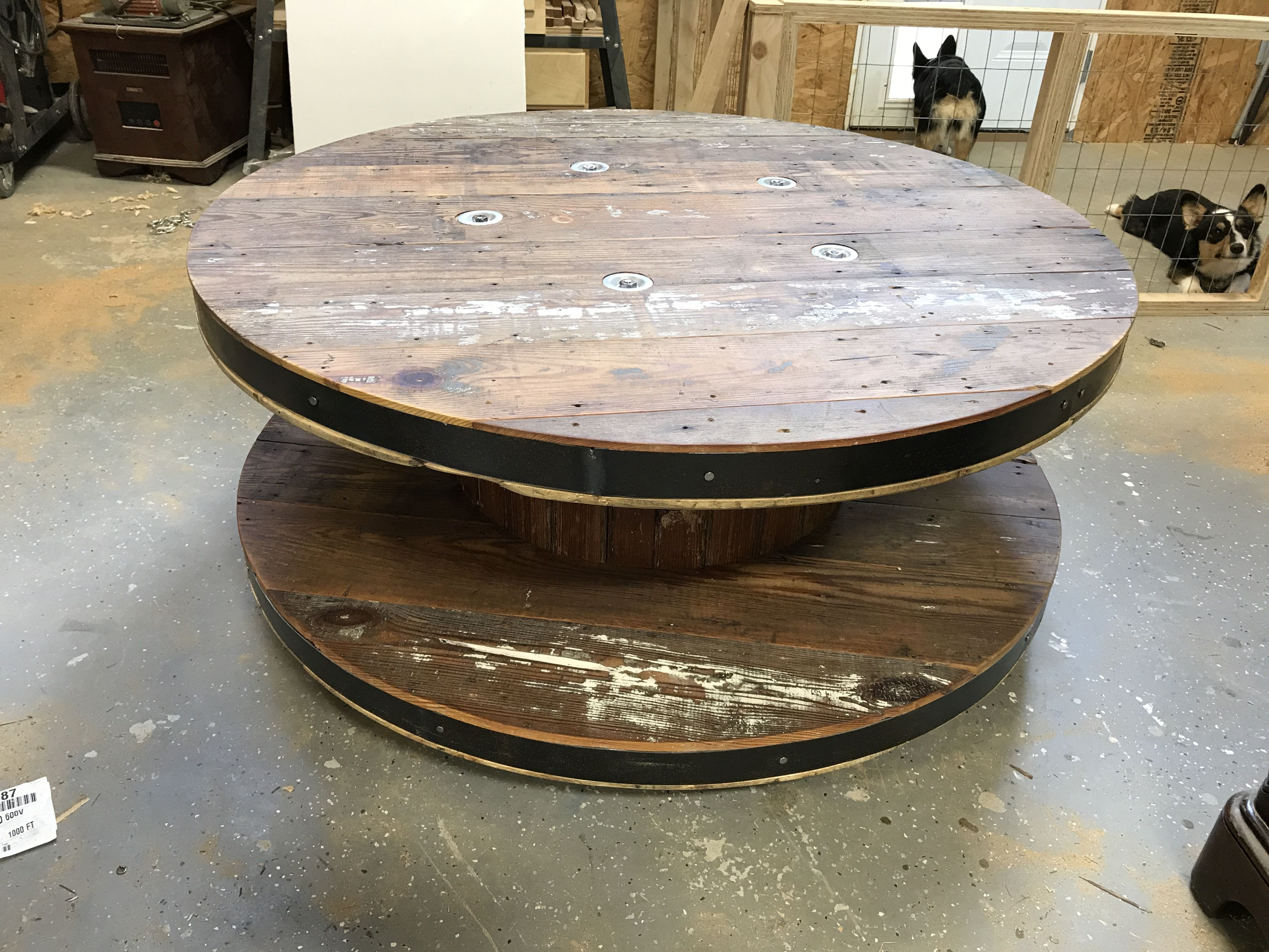 Wire spool coffee table brads projects pinterest wire spool coffee table geotapseo Image collections
