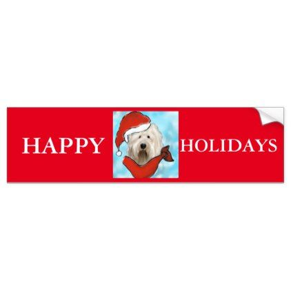 Old english sheep dog bumper sticker christmas stickers xmas eve custom holiday merry christmas