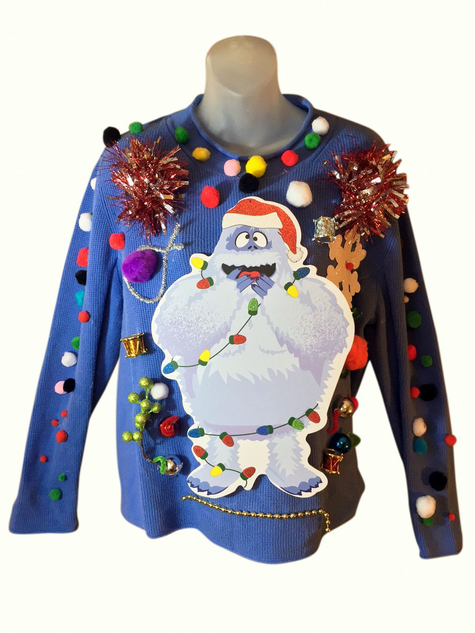 this custom christmas sweater features a large design featuring the toothless bumble with various christmas decor and a string of jingly jingle bells - Custom Christmas Sweater