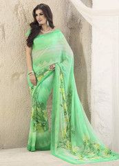 Green Color Georgette Casual Party Wear Sarees : Suchi Collection YF-30250
