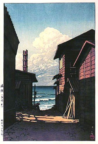 Isohama by Kawase Hasui, 1949 (published by Watanabe Shozaburo)