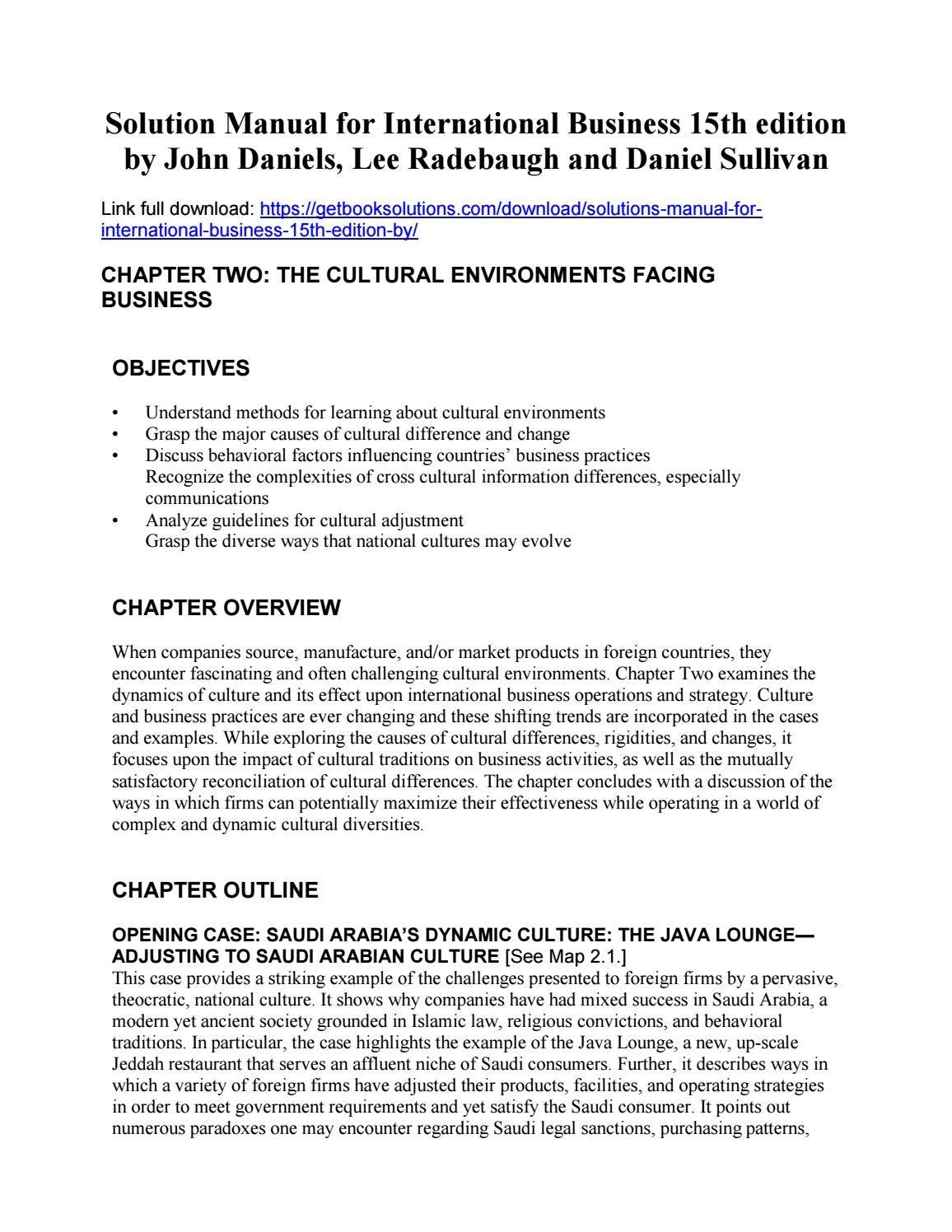 solutions manual international business 15th edition daniels rh pinterest com biochemical engineering james lee solution manual pdf james lee solution manual