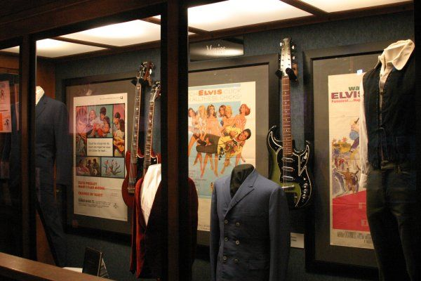 Elvis' Gibson EBS-1250 and Burns Double Six on display at Graceland - May 2006