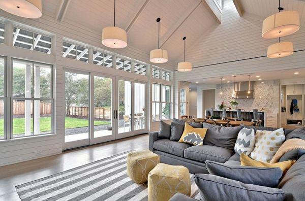Wohnzimmer Farbgestaltung U2013 Grau Und Gelb   Wohnzimmer Hocker Weich Farbgestaltung  Streifen Teppich
