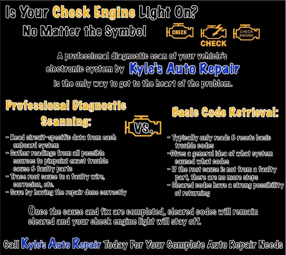 Is your check engine light on come in to kyles auto repair for a is your check engine light on come in to kyles auto repair for a professional diagnostic scan of your vehicles electronic system biocorpaavc Gallery