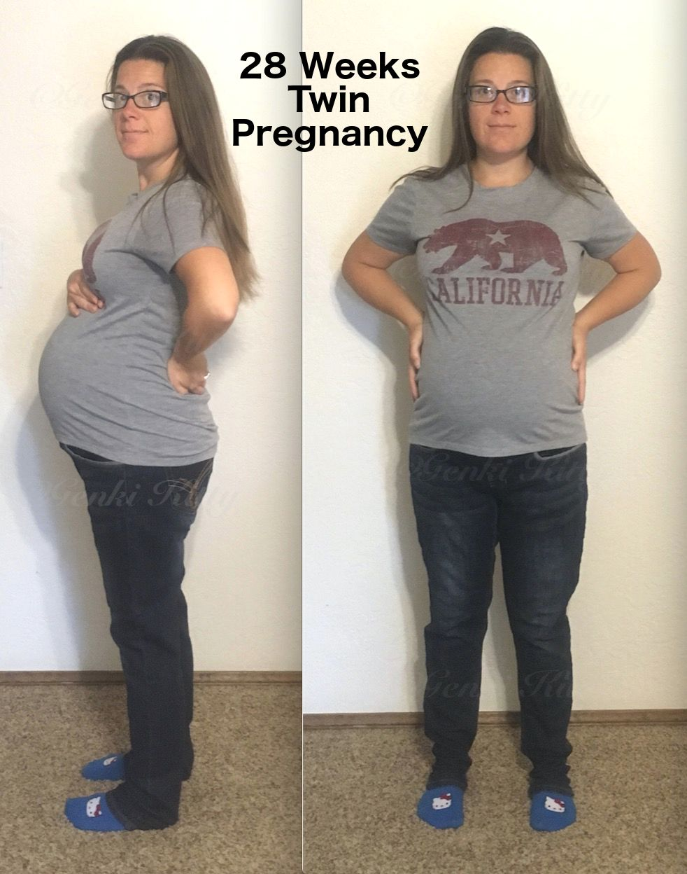 28 Weeks Twin Pregnant Belly Bump Vegan
