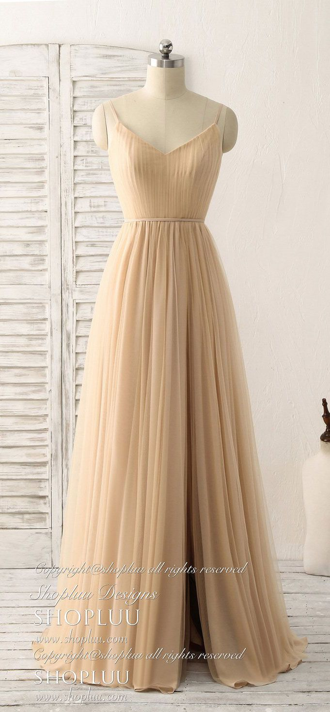 Simple v neck tulle chiffon long prom dress champagne bridesmaid