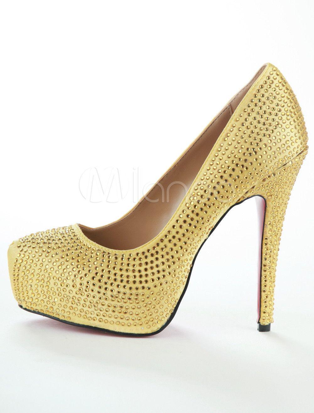 6d9ea4e6a16 Gold Platform Snakeskin Womens High Heel Shoes