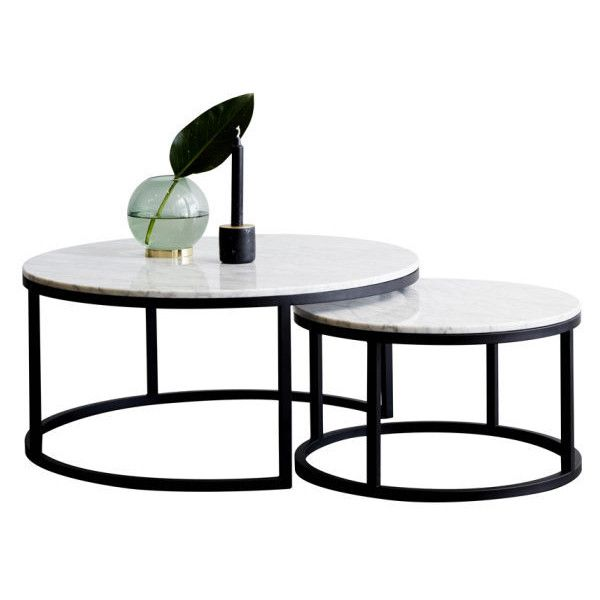Round Nesting Marble Coffee Tables Black Steel Base Liked On Polyvore Featuri Marble Round Coffee Table Marble Coffee Table Marble Coffee Table Living Room