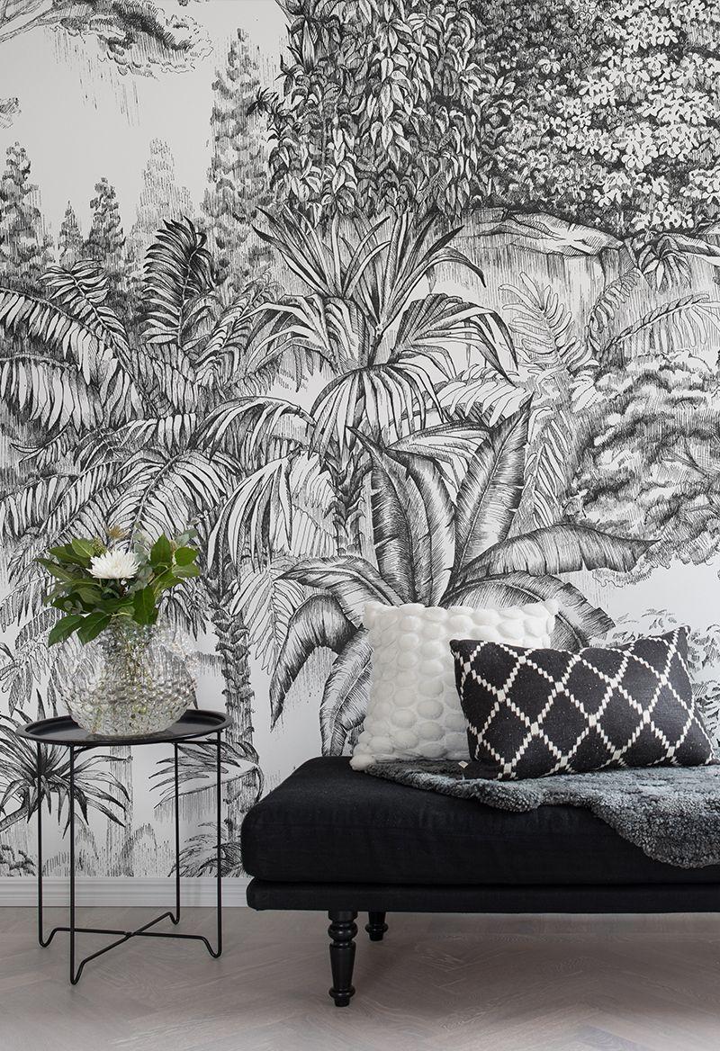 Papier Peint Noir Et Blanc Graphique papier peint graphique secret garden #dekoblumen jungle