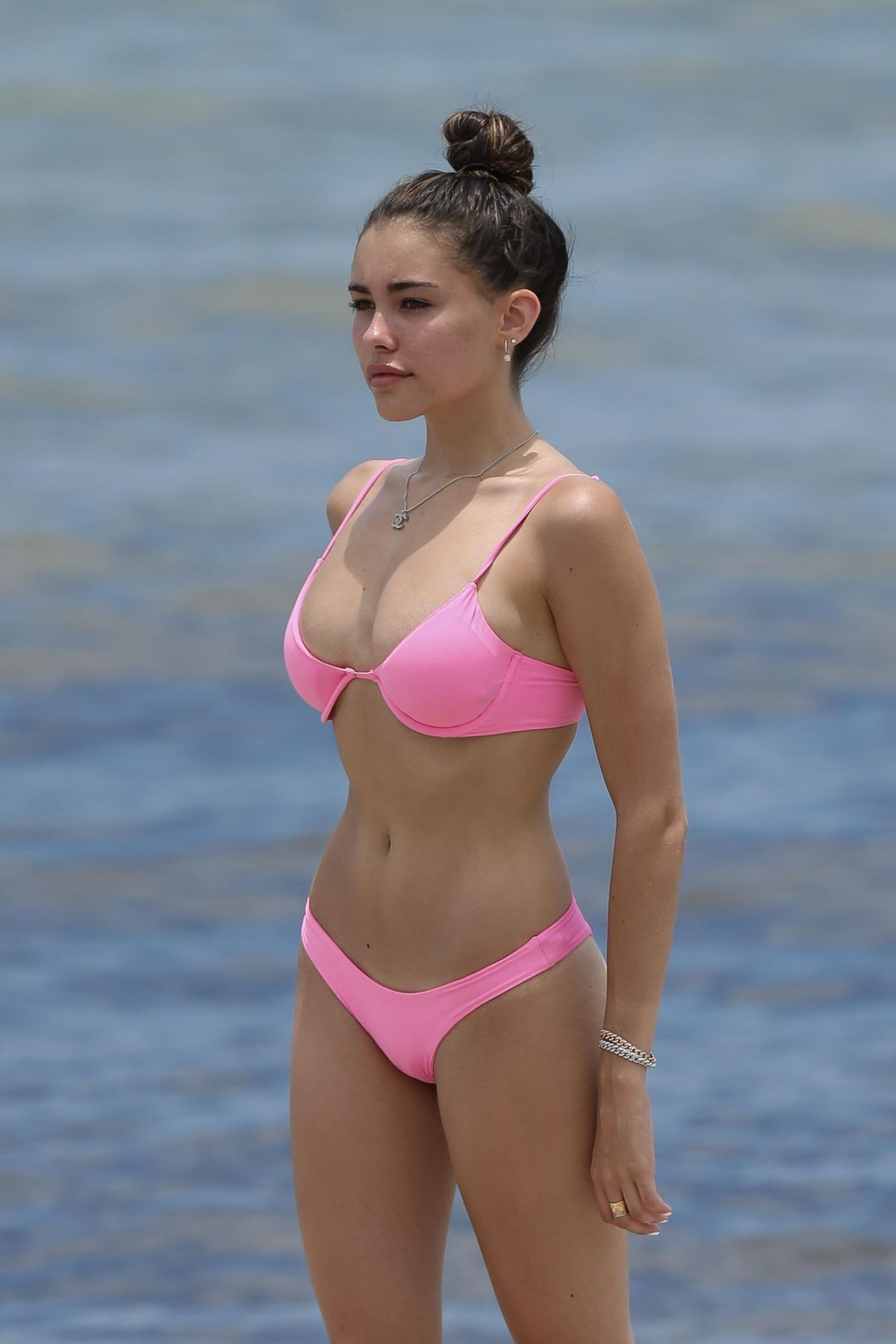 8e532fb85d Madison Beer s Pink Bikini while swimming at the beach in Miami ...