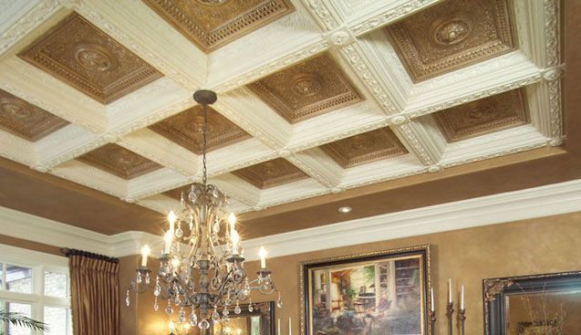 Crown moulding coiffered ceilings and millwork coffered for Box beam ceiling