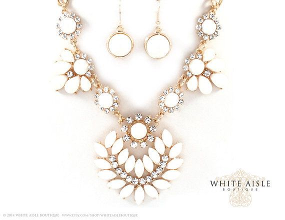Vintage Style Bridal Necklace Earrings by WhiteAisleBoutique, $20.00