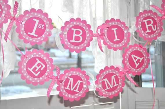 1st birthday banner polkadots pink and white personalized with