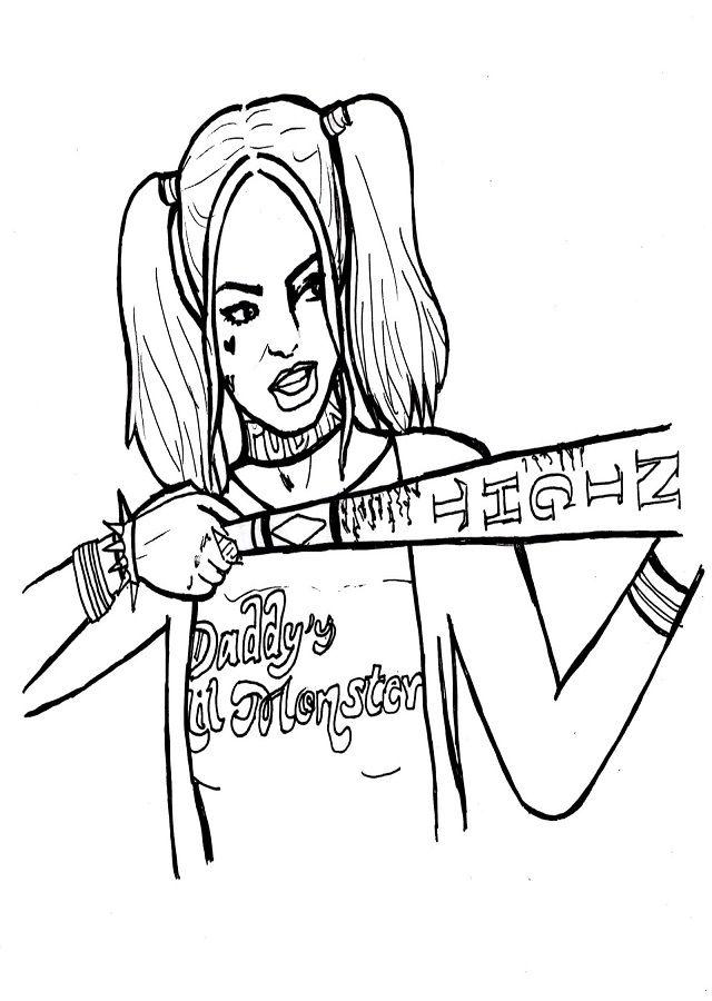 Resultado de imagen para dibujo harley quinn para colorear | Tattos ...