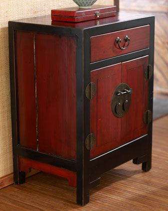 Antique Red Black Side Cabinet With Images Asian Home Decor Decor Asian Furniture