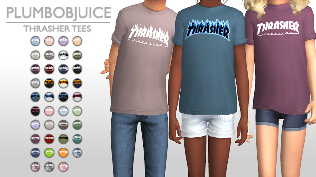 Sims 4 CC's The Best: Thrasher Tees by PlumbobJuice | Sims