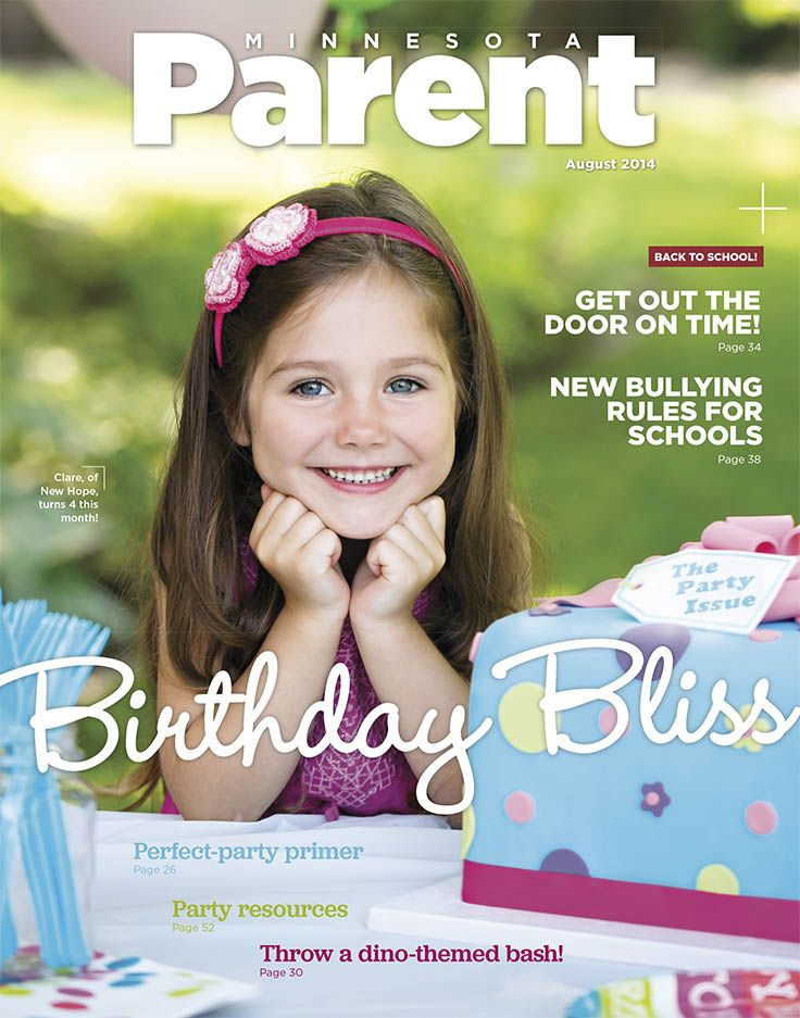 Clare, who turns 4 this month, is the star of our August cover! Clare is from New Hope.   Photo by Rachel Nadeau•  De La Vue Photography Cake provided by Nadia Cakes of Maple Grove