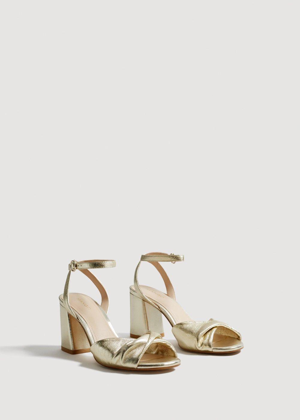 MANGO Metallic leather sandals k3W0eSI