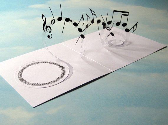 Tarjeta De Musica Espiral 3d Emergente Notas Musicales Tarjeta 3d