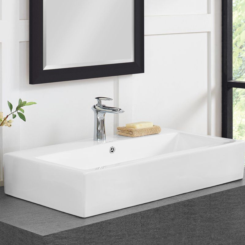 Plaisir® Ceramic Rectangular Vessel Bathroom Sink with Overflow