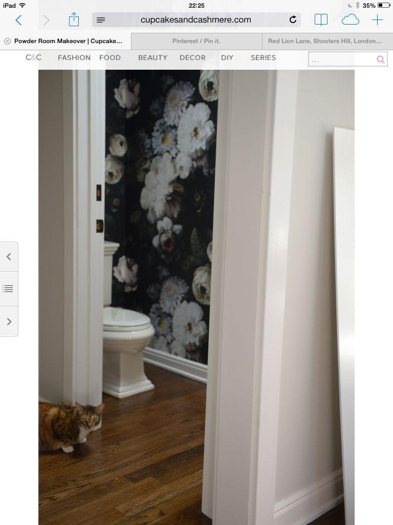 Black floral print wallpaper dark floral wallpaper by ellie cashman - C C Powder Room Ellie Cashman Wallpaper