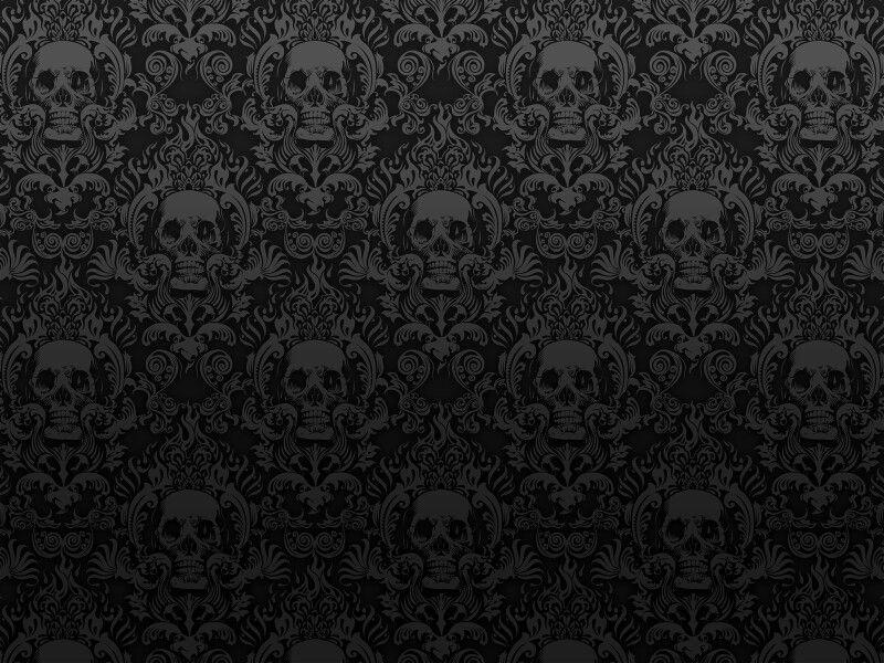 Silver Skull Damask Wallpaper Skull Wallpaper Black Background Wallpaper Photoshop Photography