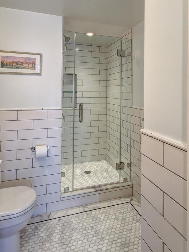 Gray And White Bathroom Is Clean Sleek White Subway Tile Shower Bathroom Tile Designs Subway Tile Showers
