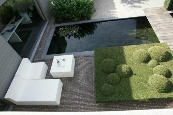 Gartengestaltung Ideen Zeitgenössisch Wasser Merkmal Weiße Möbel