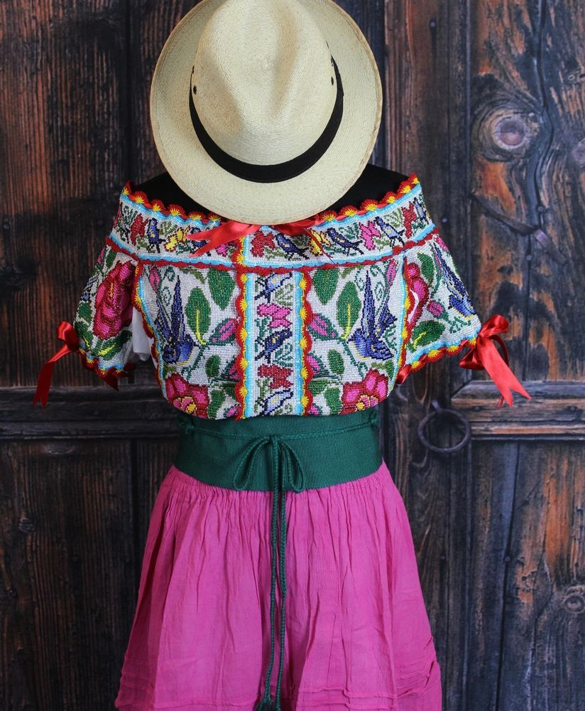Roses & Blue Birds Hand Embroidered Juquila Blouse Oaxaca Traditional Fiesta #Handmade #Blouse