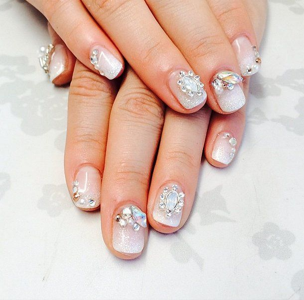 Sparkly, festive nails.