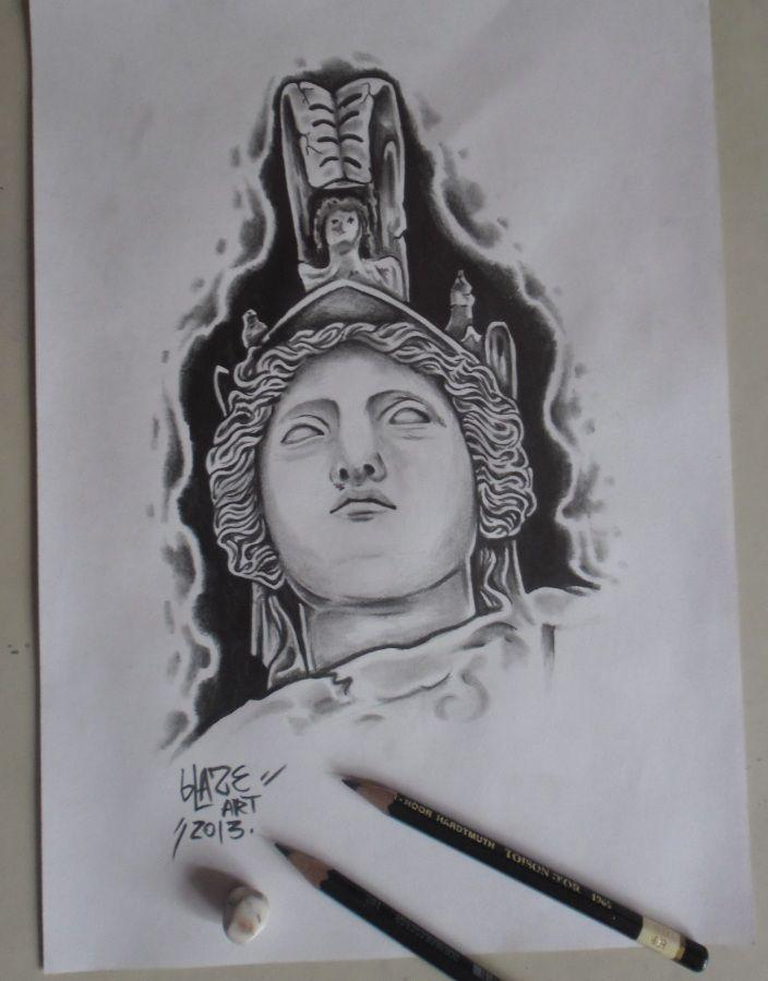 Athena statue drawing by Blaze