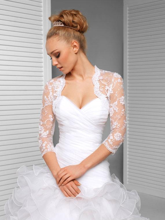 Spitze Braut Jacke 3 4 Armel Spitze Hochzeit Von Meshkabridal Bolero