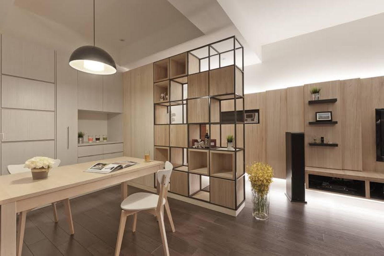 gorgeous and simple wood partition as room divider wood