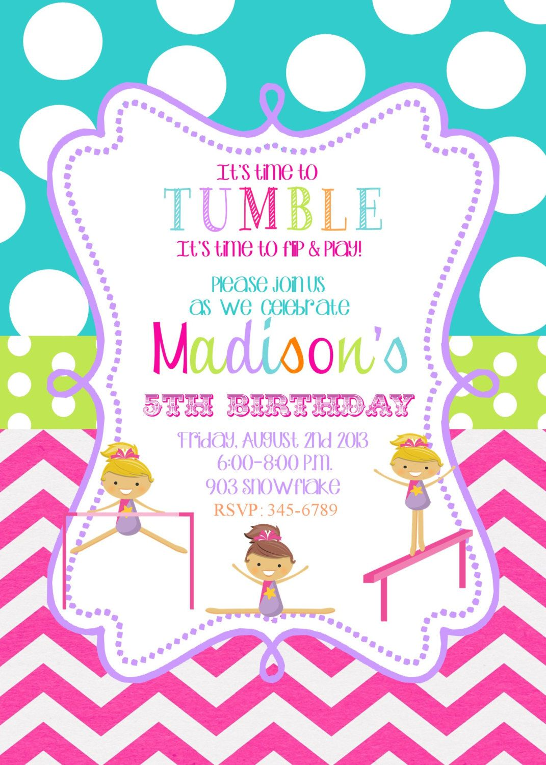 Flip Flop Gymnastics Birthday Party Invitation pink blue green – Gymnastics Party Invitation