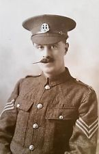 WW I British Real Photo Postcard A Sergeant in The Middlesex Regiment